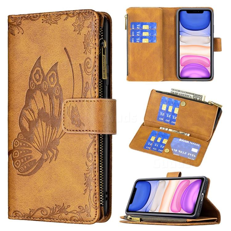 Binfen Color Imprint Vivid Butterfly Buckle Zipper Multi-function Leather Phone Wallet for iPhone 11 (6.1 inch) - Brown
