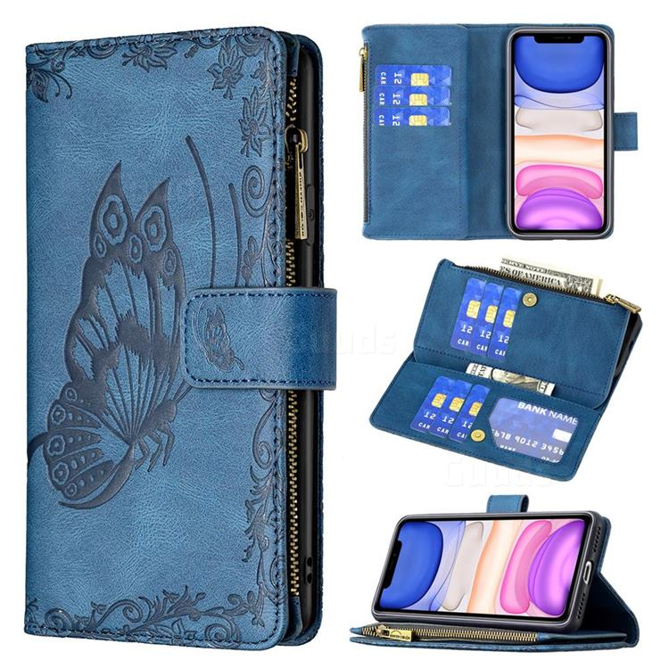 Binfen Color Imprint Vivid Butterfly Buckle Zipper Multi-function Leather Phone Wallet for iPhone 11 (6.1 inch) - Blue