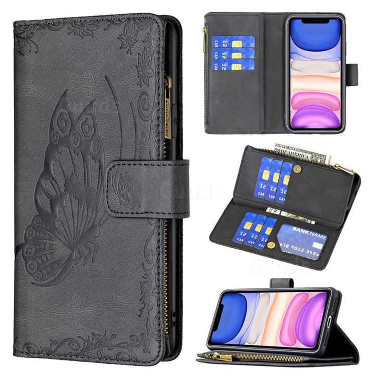 Binfen Color Imprint Vivid Butterfly Buckle Zipper Multi-function Leather Phone Wallet for iPhone 11 (6.1 inch) - Black
