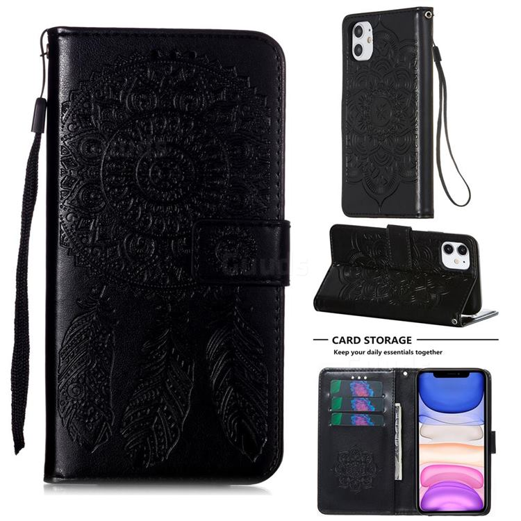 Embossing Dream Catcher Mandala Flower Leather Wallet Case for iPhone 11 (6.1 inch) - Black