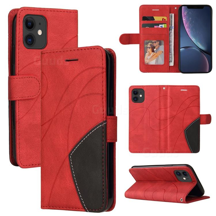 Luxury Two-color Stitching Leather Wallet Case Cover for iPhone 11 (6.1 inch) - Red