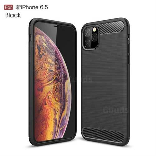 Luxury Carbon Fiber Brushed Wire Drawing Silicone TPU Back Cover for iPhone 11 Pro Max (6.5 inch) - Black