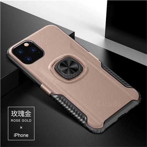 Knight Armor Anti Drop PC + Silicone Invisible Ring Holder Phone Cover for iPhone 11 Pro Max (6.5 inch) - Rose Gold