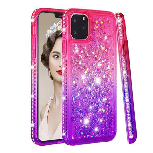 Diamond Frame Liquid Glitter Quicksand Sequins Phone Case for iPhone 11 Pro Max (6.5 inch) - Pink Purple
