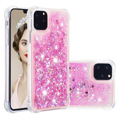 Dynamic Liquid Glitter Sand Quicksand TPU Case for iPhone 11 Pro Max (6.5 inch) - Pink Love Heart