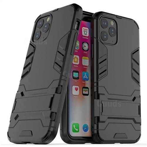 Armor Premium Tactical Grip Kickstand Shockproof Dual Layer Rugged Hard Cover for iPhone 11 Pro Max (6.5 inch) - Black