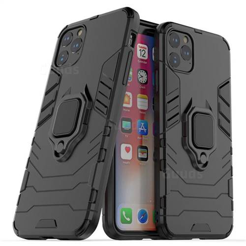 Black Panther Armor Metal Ring Grip Shockproof Dual Layer Rugged Hard Cover for iPhone 11 Pro Max (6.5 inch) - Black