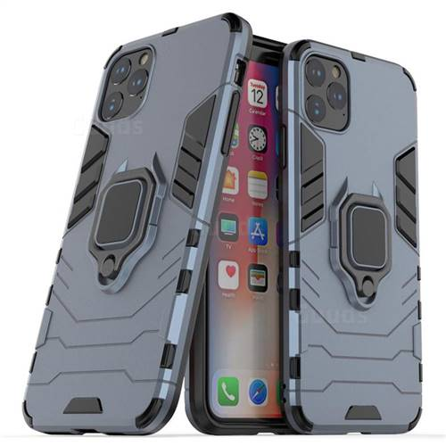 Black Panther Armor Metal Ring Grip Shockproof Dual Layer Rugged Hard Cover for iPhone 11 Pro Max (6.5 inch) - Blue