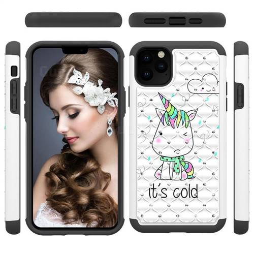 Tiny Unicorn Studded Rhinestone Bling Diamond Shock Absorbing Hybrid Defender Rugged Phone Case Cover for iPhone 11 Pro Max (6.5 inch)