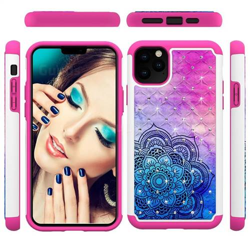 Colored Mandala Studded Rhinestone Bling Diamond Shock Absorbing Hybrid Defender Rugged Phone Case Cover for iPhone 11 Pro Max (6.5 inch)