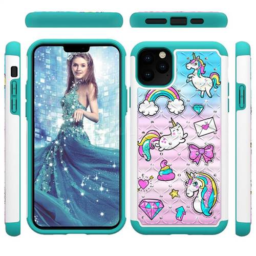 Fashion Unicorn Studded Rhinestone Bling Diamond Shock Absorbing Hybrid Defender Rugged Phone Case Cover for iPhone 11 Pro Max (6.5 inch)