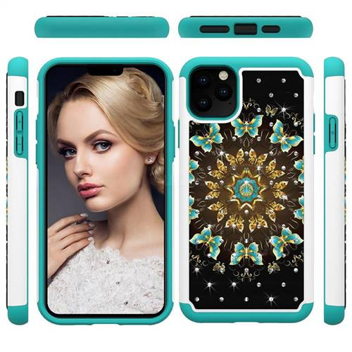 Golden Butterflies Studded Rhinestone Bling Diamond Shock Absorbing Hybrid Defender Rugged Phone Case Cover for iPhone 11 Pro Max (6.5 inch)