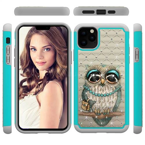 Sweet Gray Owl Studded Rhinestone Bling Diamond Shock Absorbing Hybrid Defender Rugged Phone Case Cover for iPhone 11 Pro Max (6.5 inch)