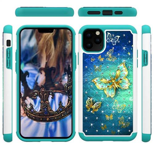 Gold Butterfly Studded Rhinestone Bling Diamond Shock Absorbing Hybrid Defender Rugged Phone Case Cover for iPhone 11 Pro Max (6.5 inch)