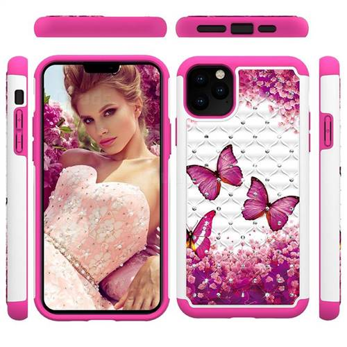 Rose Butterfly Studded Rhinestone Bling Diamond Shock Absorbing Hybrid Defender Rugged Phone Case Cover for iPhone 11 Pro Max (6.5 inch)