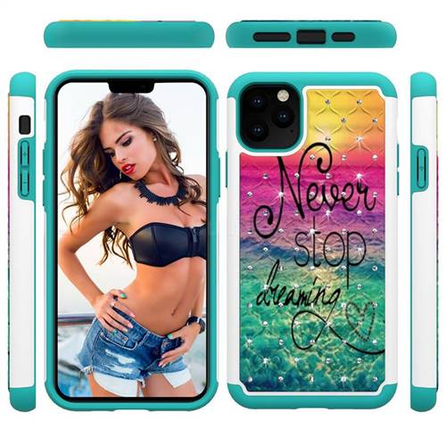 Colorful Dream Catcher Studded Rhinestone Bling Diamond Shock Absorbing Hybrid Defender Rugged Phone Case Cover for iPhone 11 Pro Max (6.5 inch)