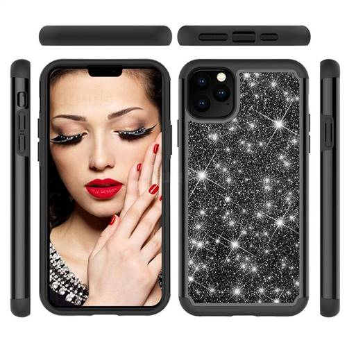 Glitter Rhinestone Bling Shock Absorbing Hybrid Defender Rugged Phone Case Cover for iPhone 11 Pro Max (6.5 inch) - Black