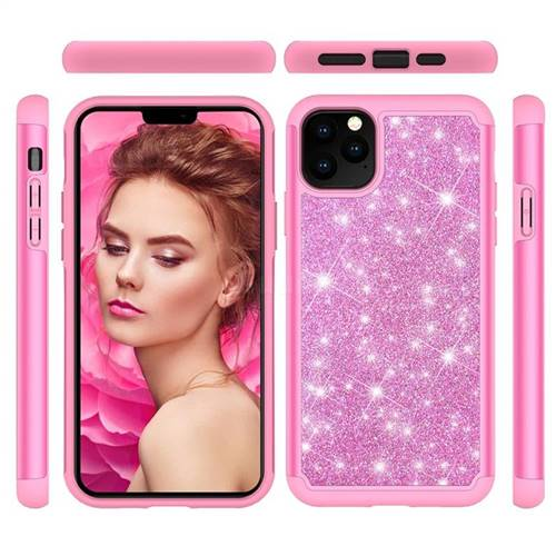 Glitter Rhinestone Bling Shock Absorbing Hybrid Defender Rugged Phone Case Cover for iPhone 11 Pro Max (6.5 inch) - Pink