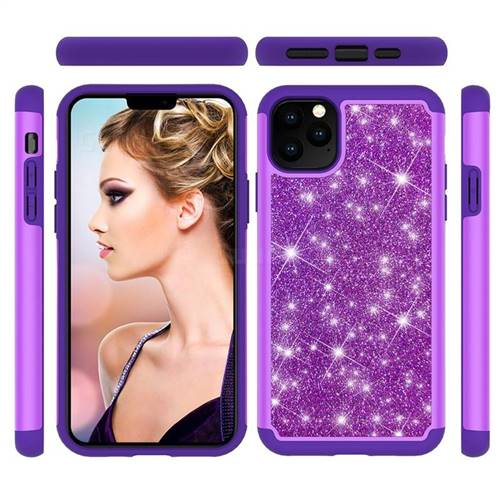 Glitter Rhinestone Bling Shock Absorbing Hybrid Defender Rugged Phone Case Cover for iPhone 11 Pro Max (6.5 inch) - Purple