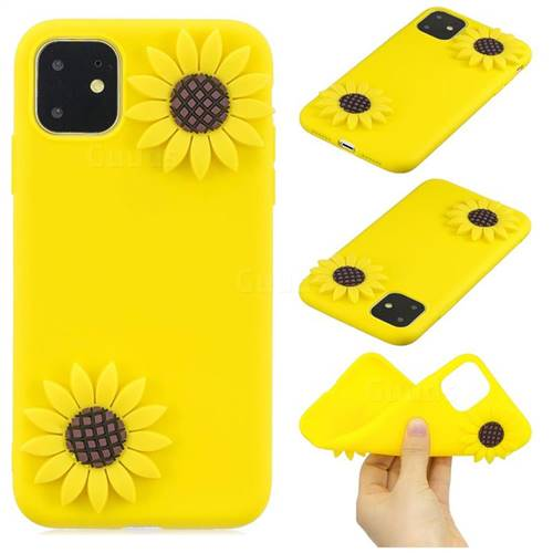 Yellow Sunflower Soft 3D Silicone Case for iPhone 11 Pro Max (6.5 inch)