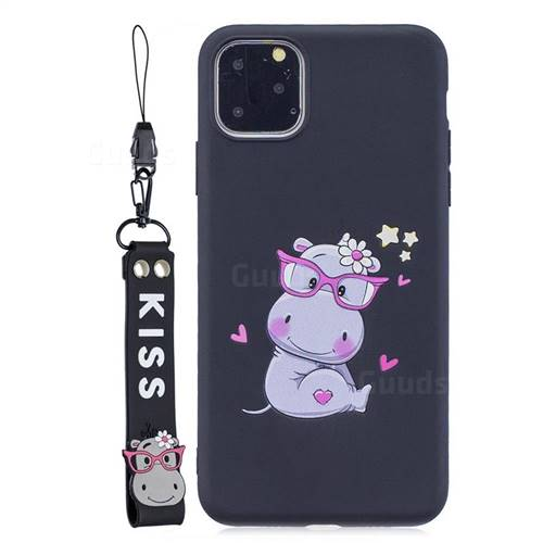 Black Flower Hippo Soft Kiss Candy Hand Strap Silicone Case for iPhone 11 Pro Max (6.5 inch)