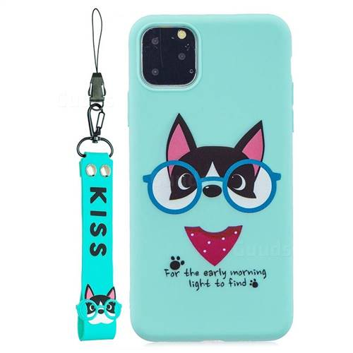 Green Glasses Dog Soft Kiss Candy Hand Strap Silicone Case for iPhone 11 Pro Max (6.5 inch)