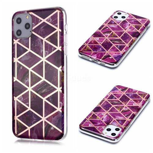 Purple Rhombus Galvanized Rose Gold Marble Phone Back Cover for iPhone 11 Pro Max (6.5 inch)