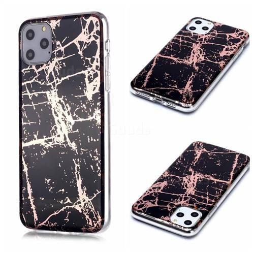 Black Galvanized Rose Gold Marble Phone Back Cover for iPhone 11 Pro Max (6.5 inch)