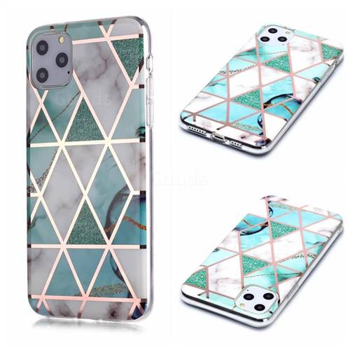 Green White Galvanized Rose Gold Marble Phone Back Cover for iPhone 11 Pro Max (6.5 inch)