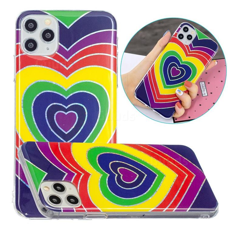 Rainbow Heart Painted Galvanized Electroplating Soft Phone Case Cover for iPhone 11 Pro Max (6.5 inch)