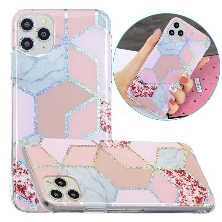 Pink Marble Painted Galvanized Electroplating Soft Phone Case Cover for iPhone 11 Pro Max (6.5 inch)