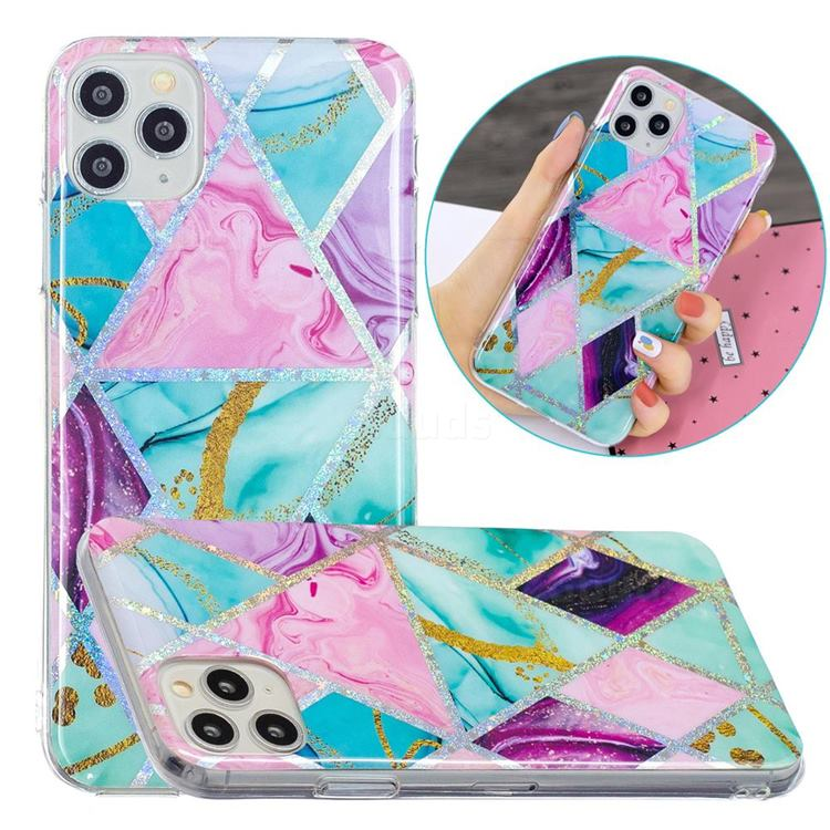 Triangular Marble Painted Galvanized Electroplating Soft Phone Case Cover for iPhone 11 Pro Max (6.5 inch)