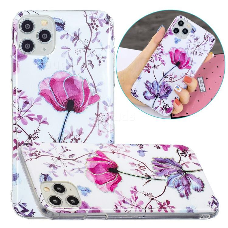 Magnolia Painted Galvanized Electroplating Soft Phone Case Cover for iPhone 11 Pro Max (6.5 inch)
