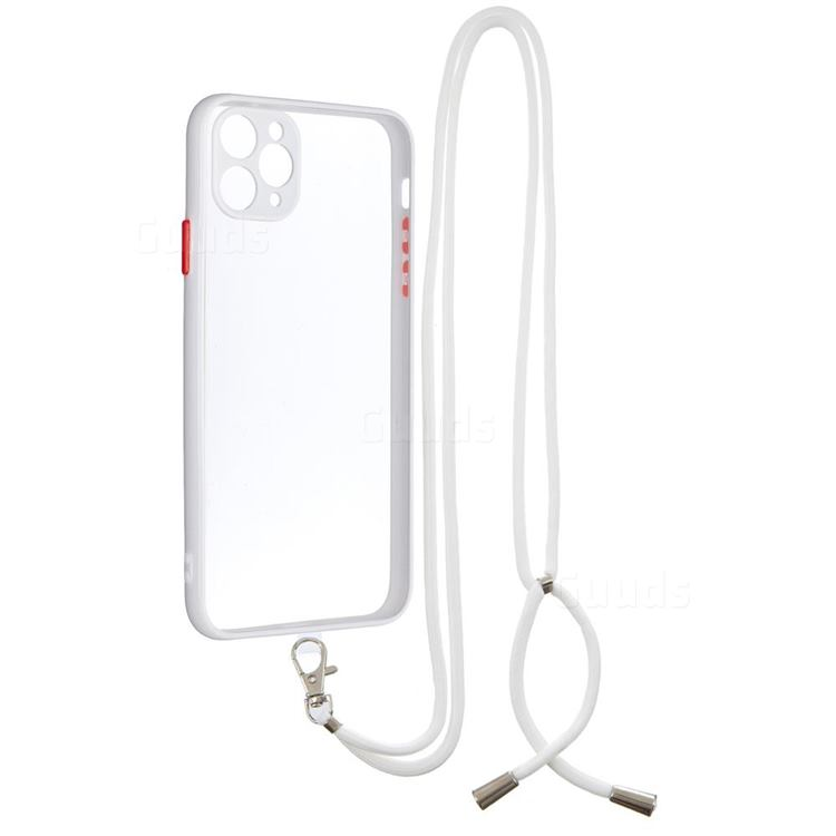 Necklace Cross-body Lanyard Strap Cord Phone Case Cover for iPhone 11 Pro Max (6.5 inch) - White