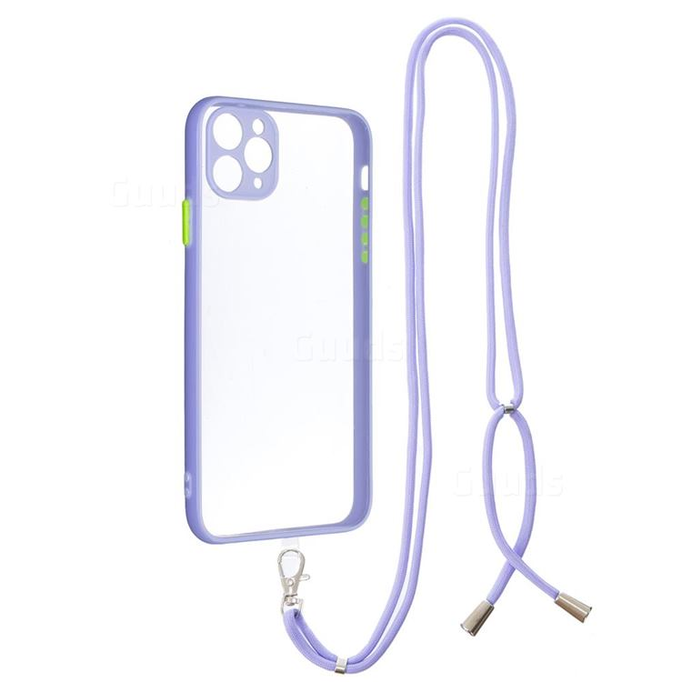 Necklace Cross-body Lanyard Strap Cord Phone Case Cover for iPhone 11 Pro Max (6.5 inch) - Purple