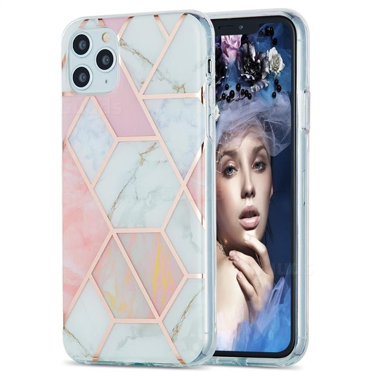 Pink White Marble Pattern Galvanized Electroplating Protective Case Cover for iPhone 11 Pro Max (6.5 inch)