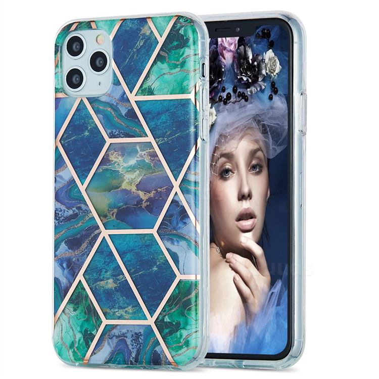 Blue Green Marble Pattern Galvanized Electroplating Protective Case Cover for iPhone 11 Pro Max (6.5 inch)
