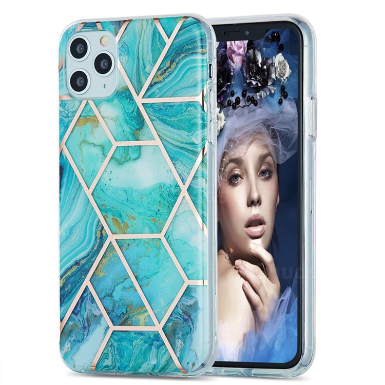 Blue Sea Marble Pattern Galvanized Electroplating Protective Case Cover for iPhone 11 Pro Max (6.5 inch)