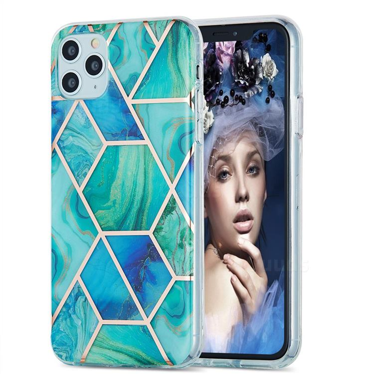 Green Glacier Marble Pattern Galvanized Electroplating Protective Case Cover for iPhone 11 Pro Max (6.5 inch)