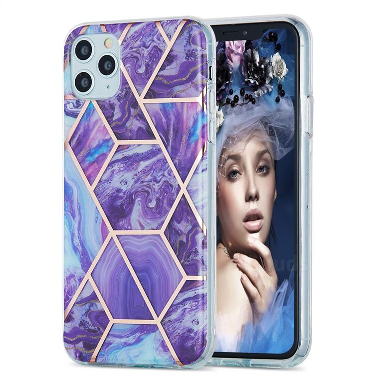 Purple Gagic Marble Pattern Galvanized Electroplating Protective Case Cover for iPhone 11 Pro Max (6.5 inch)
