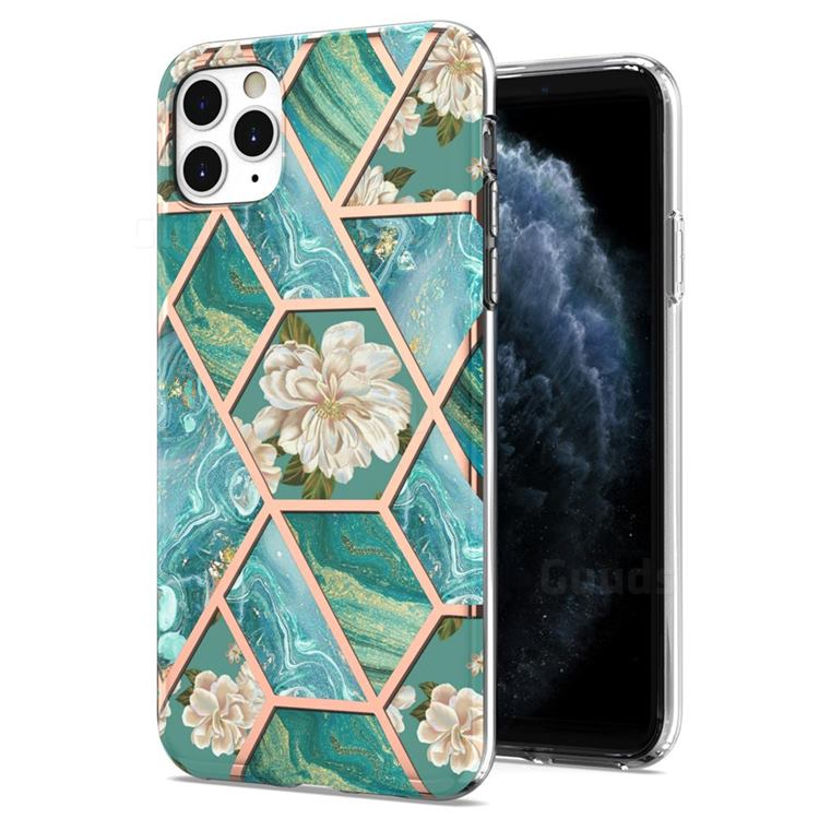 Blue Chrysanthemum Marble Electroplating Protective Case Cover for iPhone 11 Pro Max (6.5 inch)