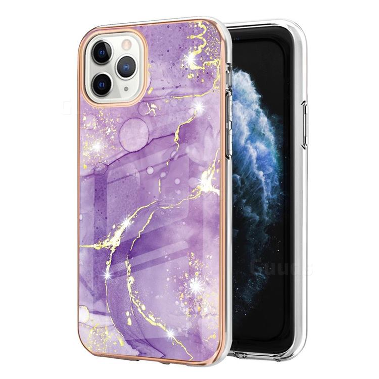 Fashion Purple Electroplated Gold Frame 2.0 Thickness Plating Marble IMD Soft Back Cover for iPhone 11 Pro Max (6.5 inch)
