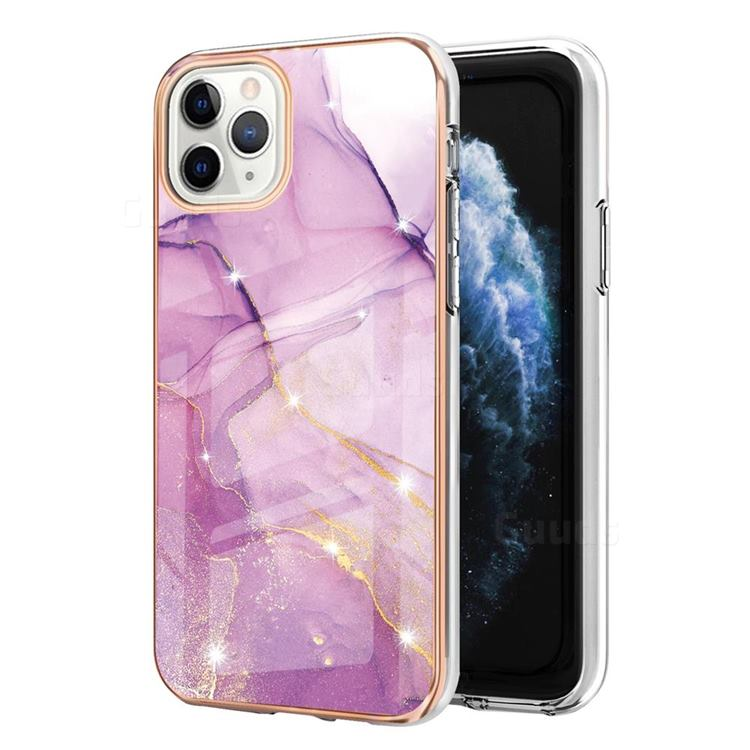 Dream Violet Electroplated Gold Frame 2.0 Thickness Plating Marble IMD Soft Back Cover for iPhone 11 Pro Max (6.5 inch)