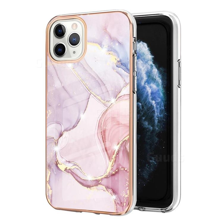 Rose Gold Dancing Electroplated Gold Frame 2.0 Thickness Plating Marble IMD Soft Back Cover for iPhone 11 Pro Max (6.5 inch)