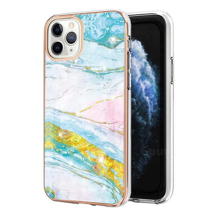 Green Golden Electroplated Gold Frame 2.0 Thickness Plating Marble IMD Soft Back Cover for iPhone 11 Pro Max (6.5 inch)