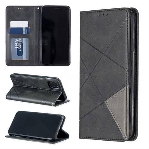 Prismatic Slim Magnetic Sucking Stitching Wallet Flip Cover for iPhone 11 Pro Max (6.5 inch) - Black