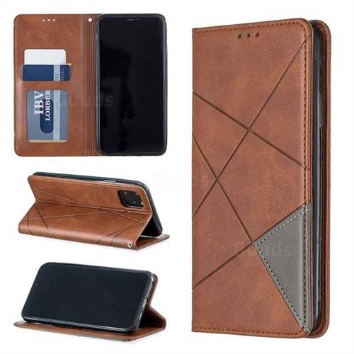 Prismatic Slim Magnetic Sucking Stitching Wallet Flip Cover for iPhone 11 Pro Max (6.5 inch) - Brown