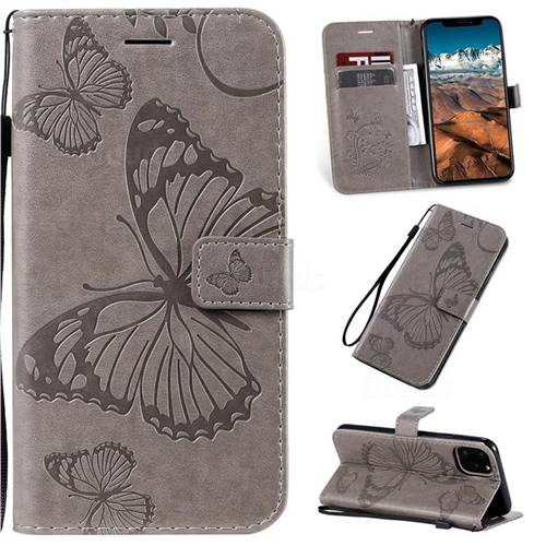 Embossing 3D Butterfly Leather Wallet Case for iPhone 11 Pro Max (6.5 inch) - Gray