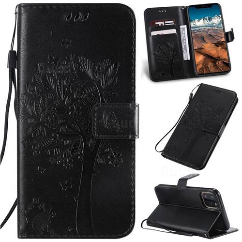 Embossing Butterfly Tree Leather Wallet Case for iPhone 11 Pro Max (6.5 inch) - Black