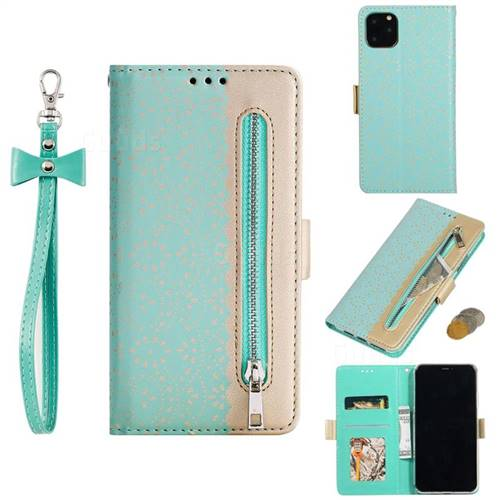 Luxury Lace Zipper Stitching Leather Phone Wallet Case for iPhone 11 Max (6.5 inch) - Green
